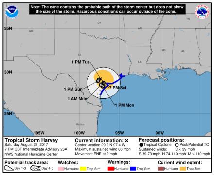 HurricanHarvey_3day_coneAug26_1900hours